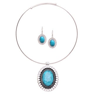 Mayan Love Faux Turquoise Oval Chain Choker Necklace and Earring Jewelry Set