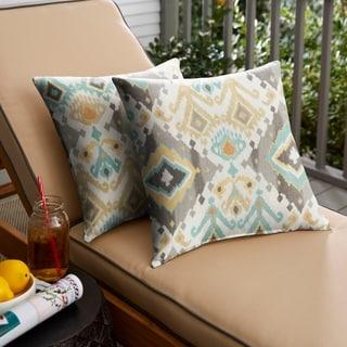 Selena Grey Aqua Ikat Indoor/ Outdoor Knife-Edge Square Pillows (Set of 2)