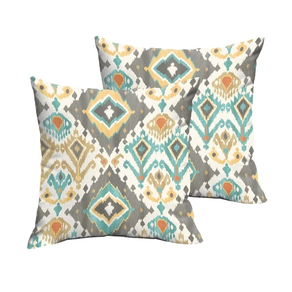 Selena Grey Aqua Ikat Indoor/ Outdoor Knife-Edge Square Pillows (Set of 2)