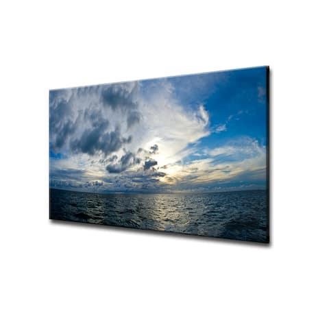 Chris Doherty 'Sunset at Sea' Acrylic ArtPlexi Wall Art - Blue