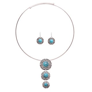 Mayan Love Faux Turquoise Universe Circle Choker Necklace and Earring Jewelry Set