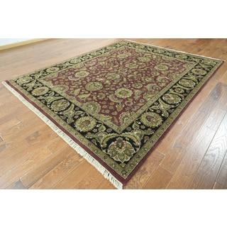 W832 Burgundy/ Black Wool Oriental Rajasthan Floral Hand-knotted Rug (8' x 10')
