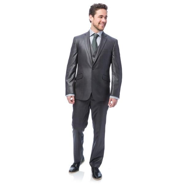 Kenneth Cole Mens Reaction Gunmetal Basketweave Suit Separates Coat