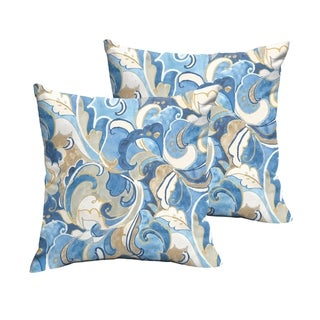 Selena Blue Grey Abstract Indoor/ Outdoor Knife-Edge Square Pillows (Set of 2)