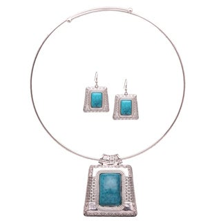 Mayan Love Faux Turquoise Temple Choker Necklace and Earring Jewelry Set