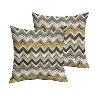Selena Grey Gold Chevron Indoor/ Outdoor Knife-Edge Square Pillows (Set of 2)
