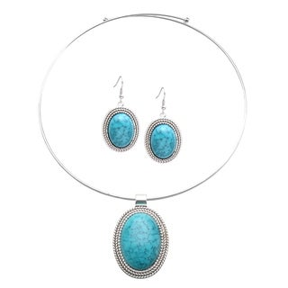 Mayan Love Faux Turquoise Oval Choker Necklace and Earring Jewelry Set