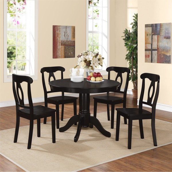 Dorel living aubrey black 5 piece pedestal dining set for Living room 5 piece sets