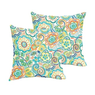 Selena Blue Rio Floral Indoor/ Outdoor Knife-Edge Square Pillows (Set of 2)