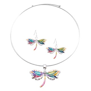 Bleek2sheek Rainbow Dragonfly Choker Necklace and Earring Jewelry Set