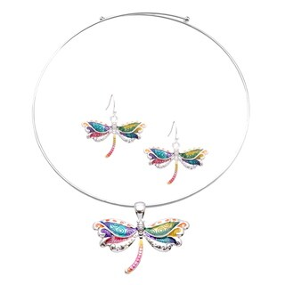Bleek2sheek Rainbow Dragonfly Choker Necklace and Earring Jewelry Set