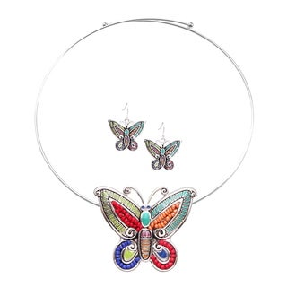 Bleek2sheek Rainbow Mosaic Butterfly Choker Necklace and Earring Jewelry Set