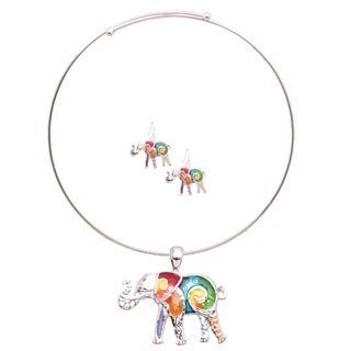 Bleek2sheek Rainbow Mosaic Elephant Choker Necklace and Earring Jewelry Set