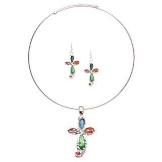 Rainbow Mosaic Cross Choker Necklace and Earring Jewelry Set