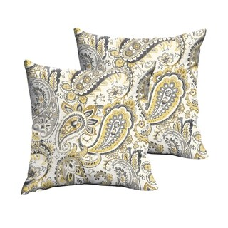 Selena Grey Gold Paisley Indoor/ Outdoor Knife-Edge Square Pillows (Set of 2)