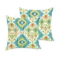 Selena Blue Green Ikat Indoor/ Outdoor Knife-Edge Square Pillows (Set of 2)
