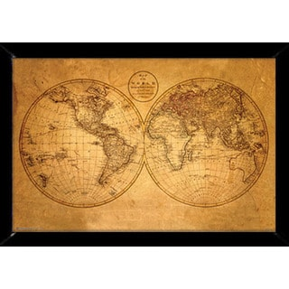 Old World Map Print (24-inch x 36-inch) with Traditional Black Wood Frame