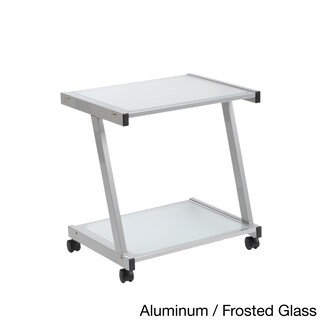 Aluminum and Frosted Glass L Printer Cart (Option: Clear/Silver/Grey)