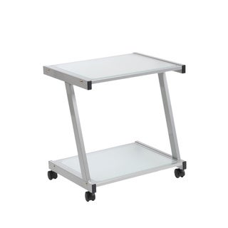 Aluminum and Frosted Glass L Printer Cart