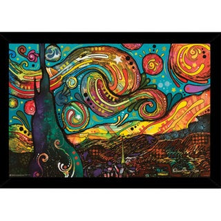 Starry Night by Dean Russo Print (24-inch x 36-inch) with Traditional Black Wood Frame