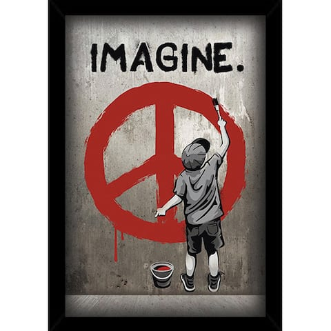 Imagine Peace Print (24-inch x 36-inch) with Traditional Black Wood Frame