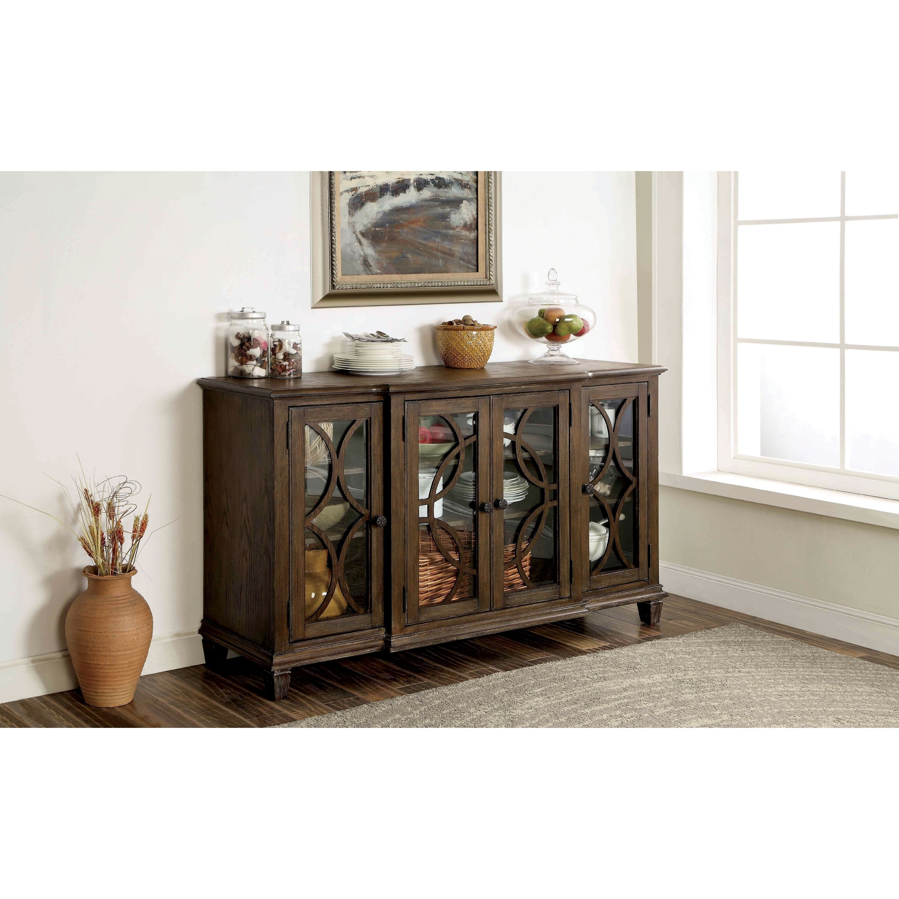 Furniture of America Haylette Rustic Wire-Brushed Brown D...