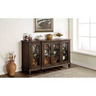 Furniture of America Haylette Rustic Wire-Brushed Brown Dining Server