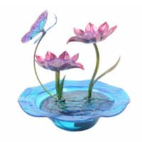 Peaktop Indoor Hand-painted Butterfly Glass Tabletop Water Fountain