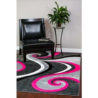 Modern Trendz Collection Pink Swirl Rug (5'2 x 7'2)