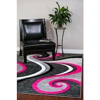 Modern Trendz Collection Pink Swirl Rug - 5'2 x 7'2