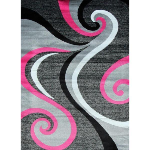Modern Trendz Collection Pink Swirl Rug 5 2 X 7 2 Free