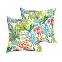 Selena Blue Green Seascape Indoor/ Outdoor Knife-Edge Square Pillows (Set of 2)