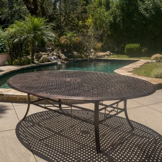 Christopher Knight Home Sebastian Outdoor Cast Aluminum Shiny Copper Oval Dining Table (ONLY)