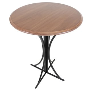 Boro Contemporary 42-inch Height Black Metal and Walnut Wood Bar Pub Table