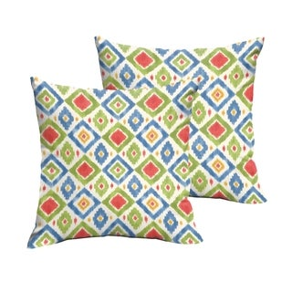 Selena Green/ Red Diamonds Indoor/ Outdoor Knife-Edge Square Pillows (Set of 2)