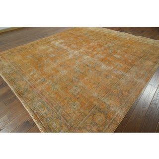 W912 Orange Wool Overdyed Hand-knotted Oriental Rug (10' x 11')