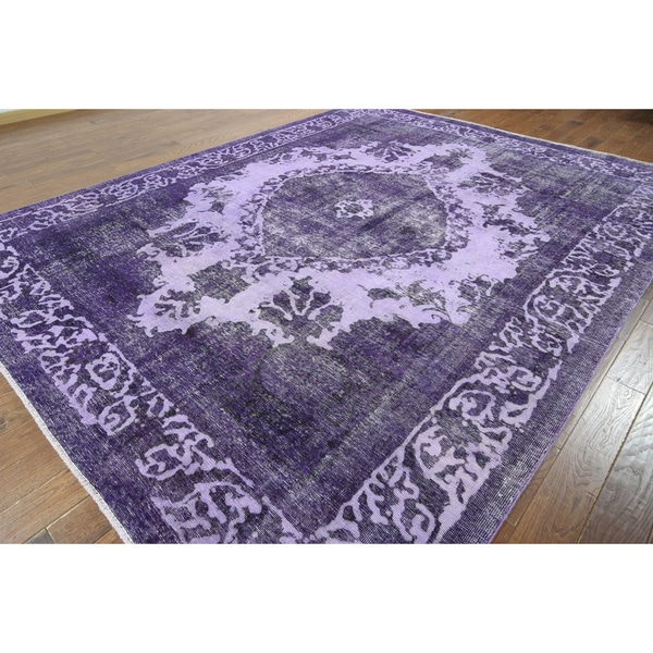 W914 Purple Wool Overdyed Hand Knotted Rug 9 X 12