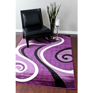 Modern Trendz Collection Purple Swirl Rug (7'10 x 10'6)