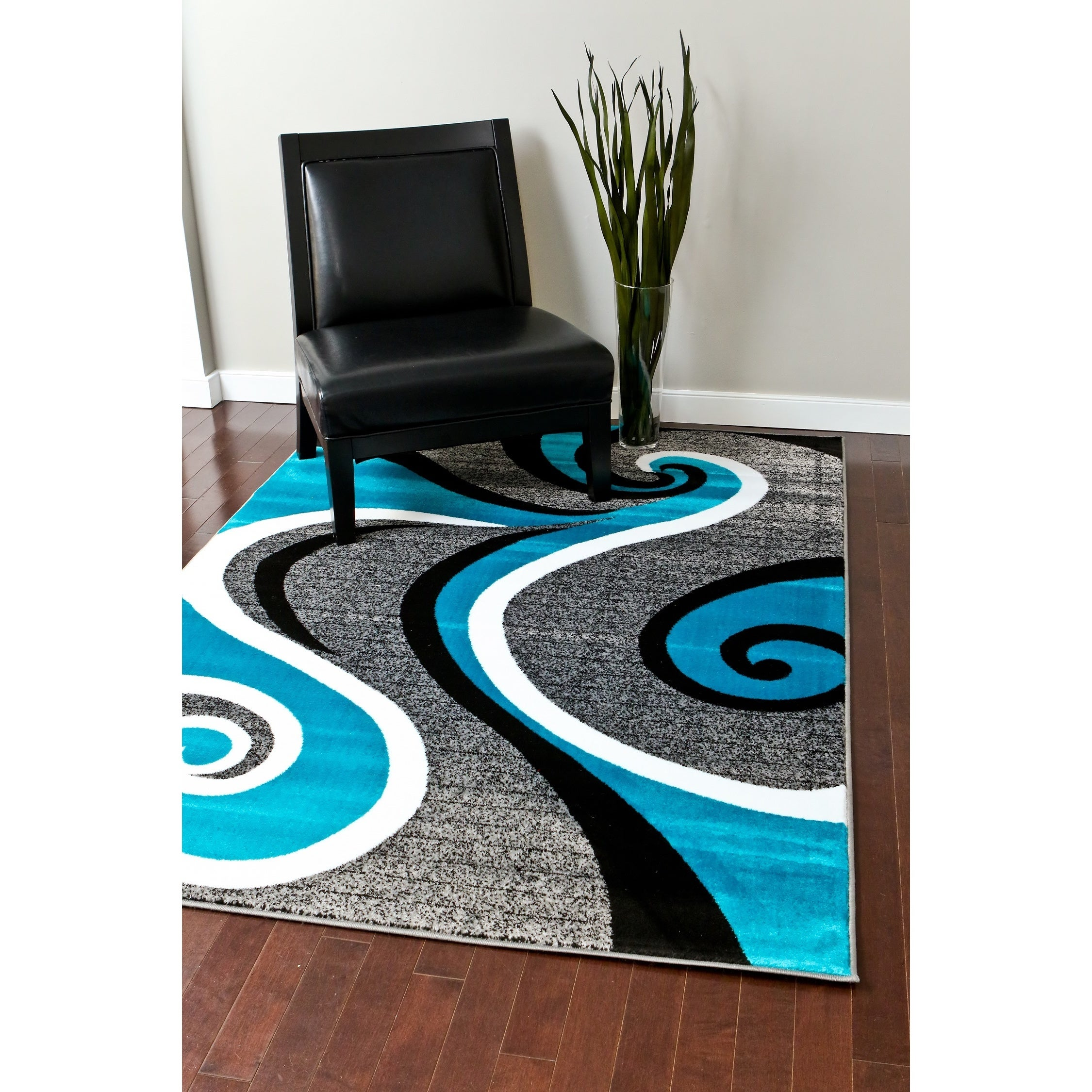 Persian Modern Trendz Collection Turquoise Swirl Rug (7'1...