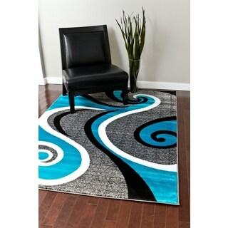 Modern Trendz Collection Turquoise Swirl Rug - 7'10 x 10'2