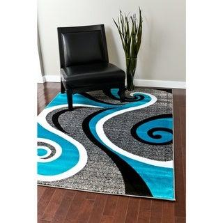 "Modern Trendz Collection Turquoise Swirl Rug - 7'10"" x 10'2"""