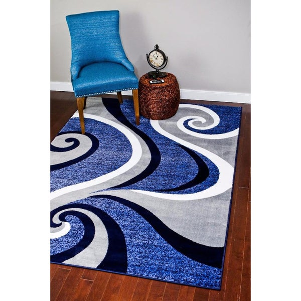 Modern Trendz Collection Dark Blue Swirl Rug 9 2 X 12 6