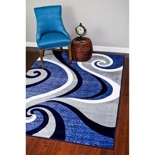 Modern Trendz Collection Dark Blue Swirl Rug (9'2 x 12'6)