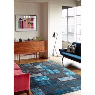 Modern Turquoise Square Rug (7'10 x 10'2)