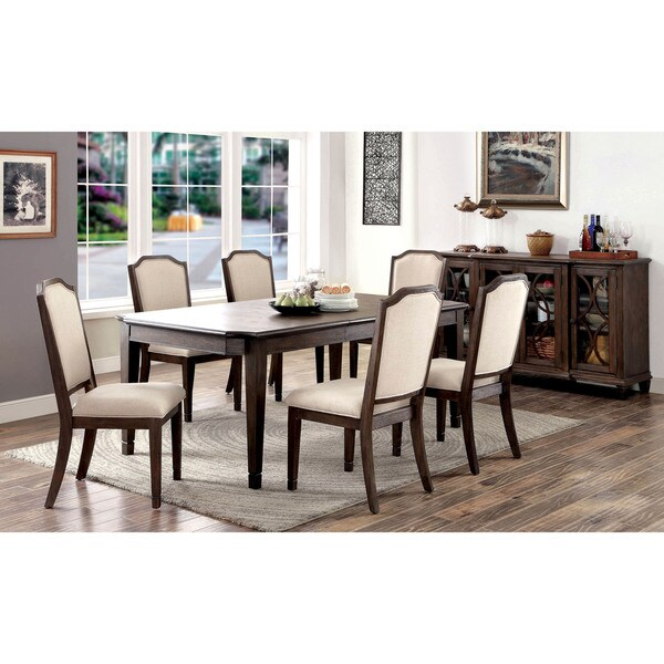 Furniture Of America Haylette Rustic 7 Piece Wire Brushed Brown Dining Set