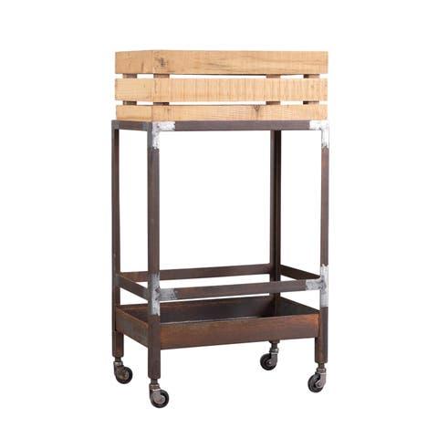Handmade Pine and Iron Drink Cart (India)