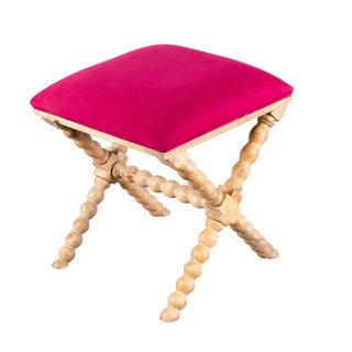 Fuchsia Acacia Wood and Linen Stool