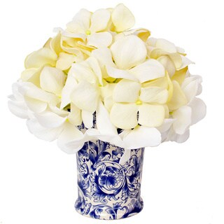 Cream Hydrangea in Delft-Style Vase