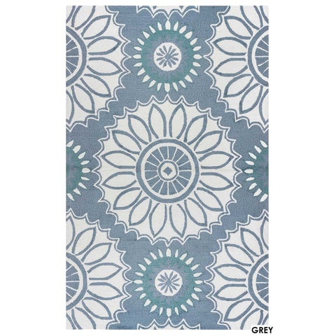 Rizzy Home Azzura Hill Collection Multi-Colored Feather Accent Rug - 2' x 3'