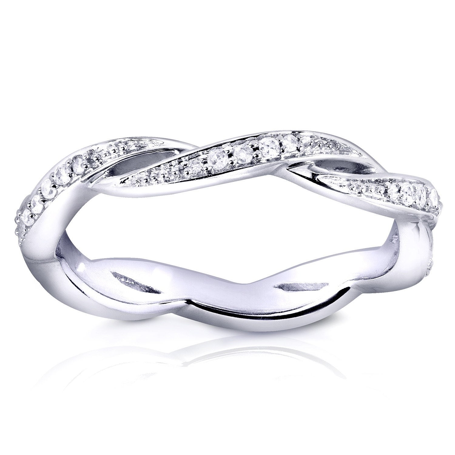 Brown Diamond Crossover Woven Band 1//5ct 10k White Gold